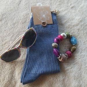 Dandelion Blue/White Knit Socks NWT